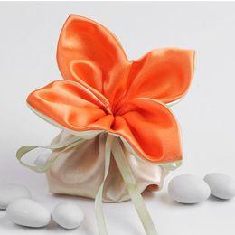 Wholesale Wholesale Mini Satin Gift Bags - Dia 11cm Clover Top Design Orange Satin Candy Bag MINI Gift Pouch Bag Party Decoration Free Shipping 20pcs lot CK096