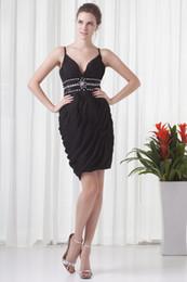 Wholesale Charmeuse Red Evening Dress - 2014 Black A-Line V-Neck Backless Knee-Length Sleeveless Waist Crystal Charmeuse Cute Banquet Evening Dresses Wedding Party Dresses