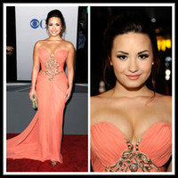 Wholesale Lovato Size - Demi Lovato In Marchesa Classic Sweetheart Sleeveless Mermaid Coral Long Chiffon Celebrity Evening Dresses Sash Formal Women's Party Gowns