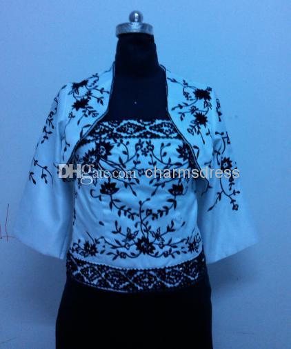 Vestido real blanco y negro satinado bordado longitud de la rodilla vaina 3/4 mangas chaqueta rebordear madre de la novia vestidos nuevo más tamaño