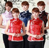 ropa de las mujeres chinas tradicionales al por mayor-Shanghai Story Ropa étnica ropa tradicional china chalecos para mujer / mujer chaquetas sin mangas tradicionales chinas 5 color JYA043
