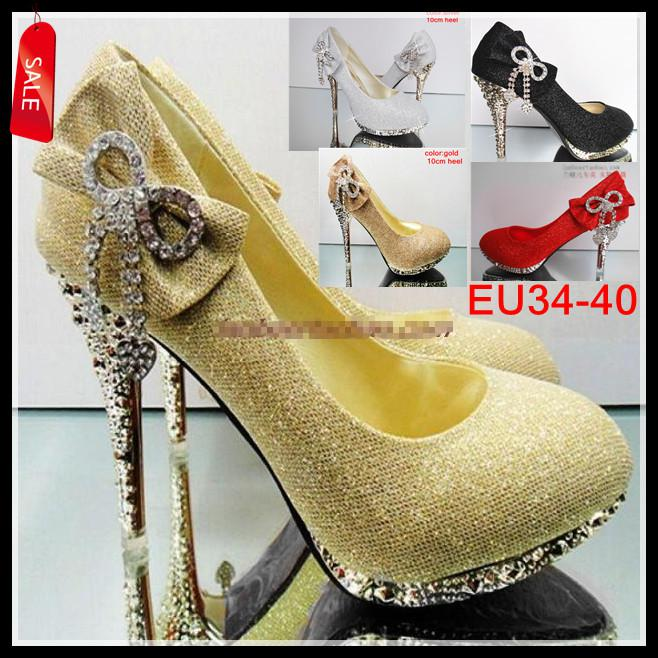 Silver Gold Black Red Color Waterproof Diamond Bow Dazzling High Heels  Shoes Wedding Bridal Shoes EU34 To 40 EPacket Sperry Shoes Silver Heels  From ... c640f0624f30
