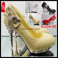 Wholesale Champagne Diamond Bridal Shoes - Silver Gold Black Red Color Waterproof Diamond Bow Dazzling High Heels Shoes Wedding Bridal shoes 5 Colors EU34 to 40 ePacket Free Shipping