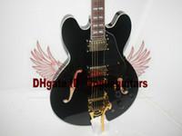 e-gitarre schwarzer tremolo großhandel-Custom shop Jazzgitarre Schwarzer Hohlkörper 335 E-Gitarre auf Lager Aus China Mit Tremolo-System HOT OEM Guitar