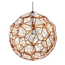 Wholesale Tom Dixon Etch Light - Tom dixon New Modern brass Etch web pendant light Creative Diamond Pendant Lamp Free shipping PL329