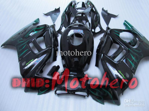 7gifts- Full Fairing kit for honda CBR600F3 97-98 CBR600 F3 1997 1998 CBR 600 F3 97 98 green flame black