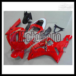 Wholesale red white zx6r fairing - 7gifts- injection molding red white black for KAWASAKI Ninja ZX6R 03 04 ZX-6R ZX 6R 2003 2004 ABS fairing kit s7532