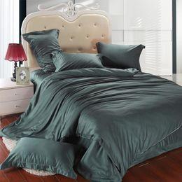 Dark Linen Sheets NZ - Luxury dark green bedding set king size queen duvet cover bed in a bag double sheet linen quilt doona bedsheet bedspread tencel western
