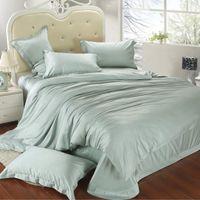 Wholesale Doona Green King - Luxury king size bedding set queen light mint green duvet cover double bed in a bag sheet linen quilt doona bedsheet tencel 4pcs western