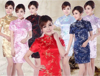 Wholesale Traditional Sexy Chinese Women - Free shipping new design cheongsam dress vintage flower printed Qipao Cheongsam Dress Chinese traditional dress for women 7 color JY010