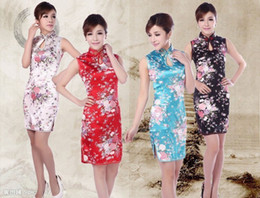 Sexy Chinese Mini Pas Cher-Shanghai Story nouvelle vente sexy qipao chinois tranditional qipao vintage cheongsam robe vintage sans manches cheongsam robe 4 couleurs JY055