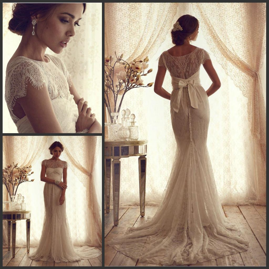 Vintage Lace Luxury Trumpet Wedding Dresses 2015 New Cheap Short Sleeves  Sheer Ruffles Empire Mermaid Bridal Gowns Plus Size Anna Campbell Off The  Rack ...