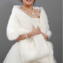 Wholesale Long Shrugs - 2014 New 170x35 cm Long White Black Pink Faux Fur Shrug Cape Stole Wrap Wedding Bridal Special Occasion Shawl