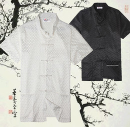 Wholesale Ethnic Clothes Men - Free shipping New Sale Tang suit Top traditional chinese clothing men Ethnic Clothing chinese traditional kungfu shirt 2 color JY074