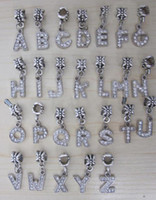 Hot vendas Preço baixo 520pcs Letra alfabeto Cristal Dangle Ball Big Hole Bead Colar Fit Charm Pulseira