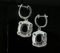 Wholesale Semi Mounts For Earrings - Free Shipping 14K White Gold 7x10MM Oval Semi Mount Earring For Women