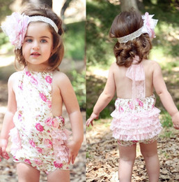 Discount white one piece girl - 2014 Floral Baby Girls One-Pieces Romper Newborn Bodysuits Posh Petti Rompers Jumpsuit Shortalls P523