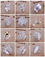 encomenda moda china venda por atacado-Mix Estilos Hot Sale New 925 Prata Moda Jóias 30 pcs Mixed Ordem Multi Estilos Dedo Anéis Mix tamanho