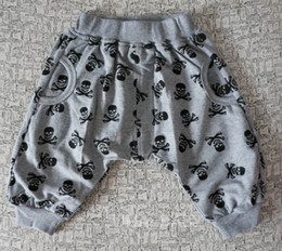 Wholesale Skull Harems - Wholesale Children's pants boys pants children skull Harlan bloomers baby cotton casual trousers 2 color 5p l
