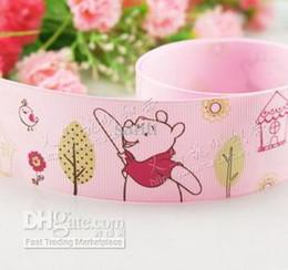Wholesale Hairbows Printed Ribbon - Winnie the Pooh 100yards   lot , 9 16 25 38MM grosgrain ribbon hairbows printed ribbon