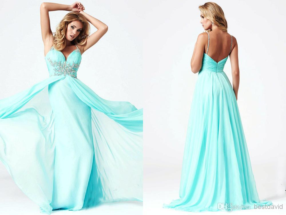 Cheap Aqua Crystals Prom Dresses 2014 Deep V Neck High Leg Slit A ...