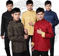 erkekler için çince kıyafetleri toptan satış-Şangay Story Çin Ceket Uzun Kollu Çince Geleneksel etnik giyim İki taraflı aşınma uygun tang mandalina yaka geri dönüşümlü Ceket erkekler