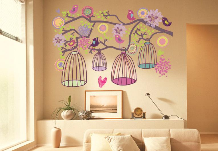 Birdcage Tree Wall Sticker Birdcage Flower Tree Kids Living Room