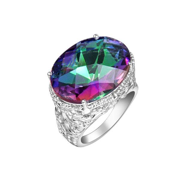 El último estilo más reciente para las mujeres joyería del anillo coloreado 925 plata esterlina plateado Oval Rainbow Fire Mystic topaz gemas de plata