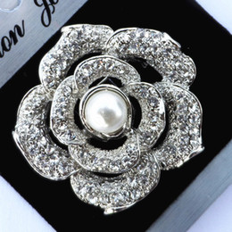 Wholesale Diamante Clear Rhinestone - Vintage Silver Plated Alloy Clear Diamante Rose Floral Bride's Dress Jewelry Broaches Hot Selling Wholesale Cheap Brooch Pins