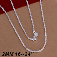 Wholesale Men 2mm Silver Chains - Top Quality 925 Sterling Silver Men Women Twist ROPE Chain Necklaces 2MM 16inch 18inch 20inch 22inch 24inch