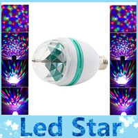 Wholesale E27 Flash Lamp - AC 85-265V E27 3W Colorful Rotating RGB 3 LED Light Bulb Lamp Flash Stage Christmas Party Led Lights