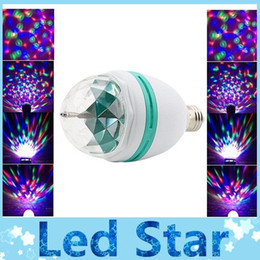 Wholesale E27 3w Colorful Rotating Rgb - AC 85-265V E27 3W Colorful Rotating RGB 3 LED Light Bulb Lamp Flash Stage Christmas Party Led Lights