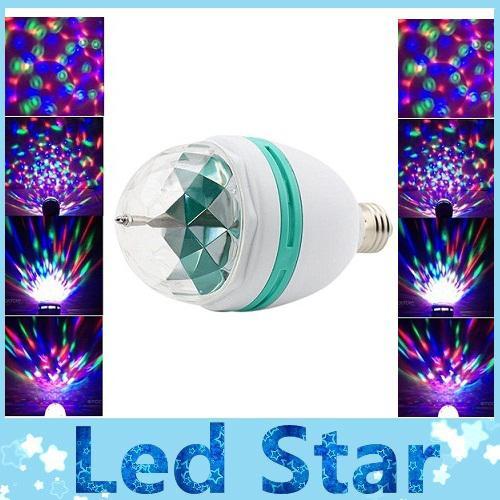 CA 85-265V E27 3W Coloré Rotation RVB 3 LED Lampe Ampoule Lampe Flash Party Soirée De Noël Led Lumières