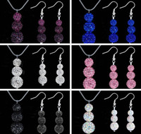 Wholesale Disco Ball Pave Crystal 8mm - 2014 New Stylish 8mm 10mm 12MM 3pcs Disco Pave Ball Crystal Beads Shamballa Pendant Necklace Drop Earring Jewelry Set 120sets lot