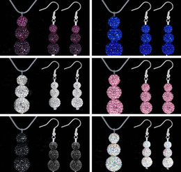 Wholesale Crystal Disco Ball Pendants - 2014 New Stylish 8mm 10mm 12MM 3pcs Disco Pave Ball Crystal Beads Shamballa Pendant Necklace Drop Earring Jewelry Set 120sets lot