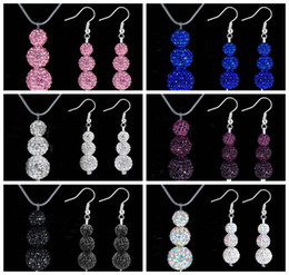 Wholesale Silver Bead Necklace 12mm - shamballa jewelry set 8mm 10mm 12mm 3pcs Crystal Disco Beads Fashion Silver Jewelry Necklace Earrings 24sets lot