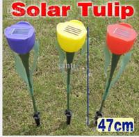 Wholesale Solar Flower Yard - Outdoor Yard Garden Path Way Solar Power LED Tulip Landscape Flower Lamp Lights