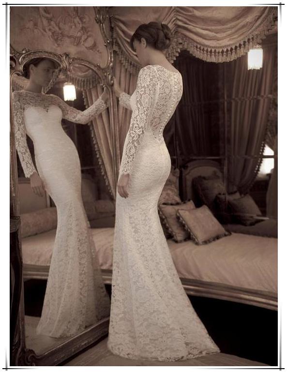 2014 vestidos de novia de encaje Yaki Ravid novia de encaje manga larga escarpada espalda botones vestido elegante sirena de barrido vestidos de novia AW-261
