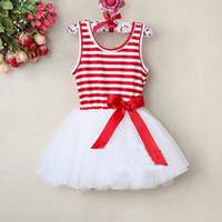 Wholesale Girls Stripped Tutu Dress - Children Christmas Dress Girl Strip TuTu Dress Baby Stripe With Bow Kids Summer Lace Dress Wholesale