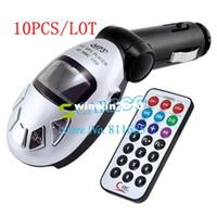 Wholesale Monitor Player Car Roof - 10pcs lot Wireless Car MP3 Player FM Transmitter USB SD MMC Slot wholesale 1267