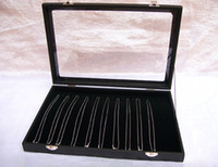 Wholesale Glass Jewelry Showcase - Jewelry Display Box Black Velvet Necklace Tray Holder Showcase With Glass Lid For Necklace Display