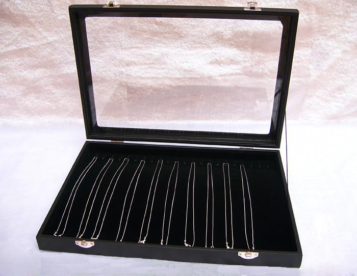 Jewelry Display Box Black Velvet Necklace Tray Holder Showcase With Glass Lid For Necklace Display