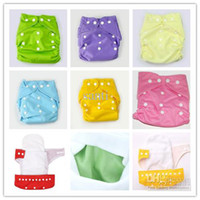 Wholesale Wholesale Cheaper Diaper - 10 Diapers +10 Inserts Cheaper Baby Diapers Plain Color Babyland Cloth Diaper Pockets