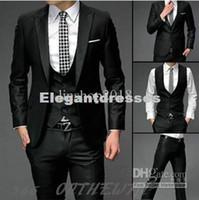 Wholesale Linen Dress Suit - Mens Slim Fit one Button Suits Pants Vest Dress The groom dress