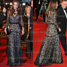Wholesale Kate Middleton Sexy - 2014 Sexy Kate Middleton Dress Black Applique A Line V-Neck Illusion Long Sleeves Hollow Sweep Train Lace Evening Dresses Dhyz 01