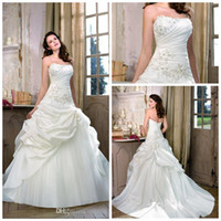 Wholesale Strapless Glamour Wedding Dresses - Cheap Price Best Selling 2015 Wedding Dresses Glamour A Line Lace Up Ruffles Taffeta Ivory Beautiful Flare Bridal Gown GH030
