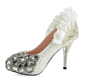 Wholesale Top Sale CM White Crystal Sexy Bride Wedding Shoes for Woman Wedding Events Party Bridal Accessories