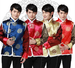 Wholesale Fur Vests For Men - Shanghai Story New Sale Tang suit Ethnic Clothing chinese traditional clothes vests for men chinese traditional jackets 4 color JY072
