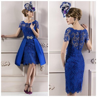 Wholesale White Mother Cocktail Sleeves Dress - Cheapest Modest Custom made 2014 Elegant Mother Lace Royal Blue Short Sleeves Evening Dress  Mother of the bride Dresses,cocktail Dress 0001