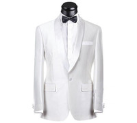 photos meilleur costume achat en gros de-Real Picture Blanc Groom Tuxedos Groomsmen Meilleur Suit Homme Costume Mariage Mens Costume Bridegroom (Veste + Pantalons + Ceinture + Cravate) NO: 189